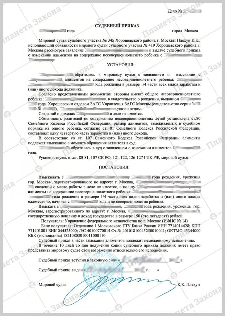 Судебный приказ о взыскании алиментов в долевом соотношении к заработку